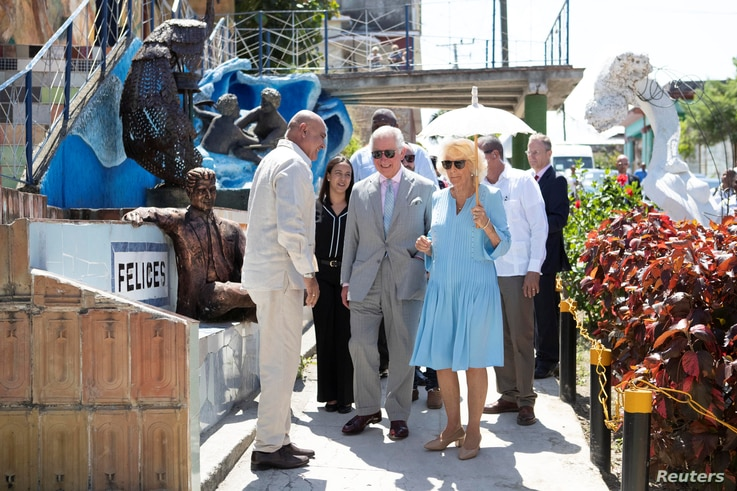 Britain's Prince Charles and Camilla, Duchess of Cornwall visit the Muraleando Community Centre in Havana, Cuba, March 25, 2019.