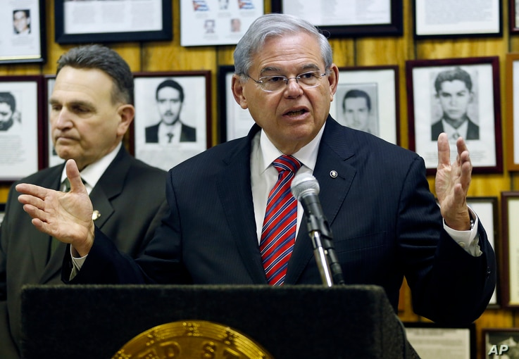 U.S. Sen. Bob Menendez (D-NJ) speaks about President Barack Obama's planned trip to Cuba during a news conference, Thursday, Feb. 18, 2016, in Union City, N.J. Obama said Thursday he'll raise human rights issues and other U.S. concerns with Cuban Pre...