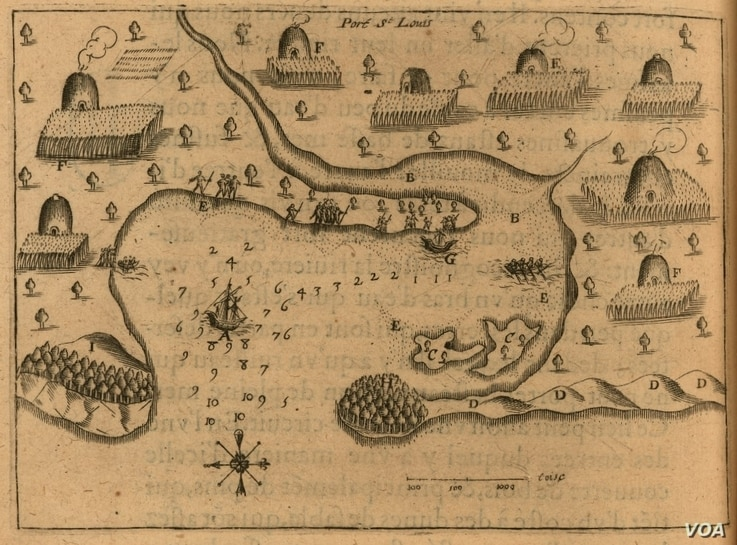 """A 1613 engraving of a map hand drawn seven years earlier by French explorer Samuel de Champlain.  """"F"""" designates Patuxet houses and agricultural plots.  Courtesy, John Carter Brown Library, Brown University."""