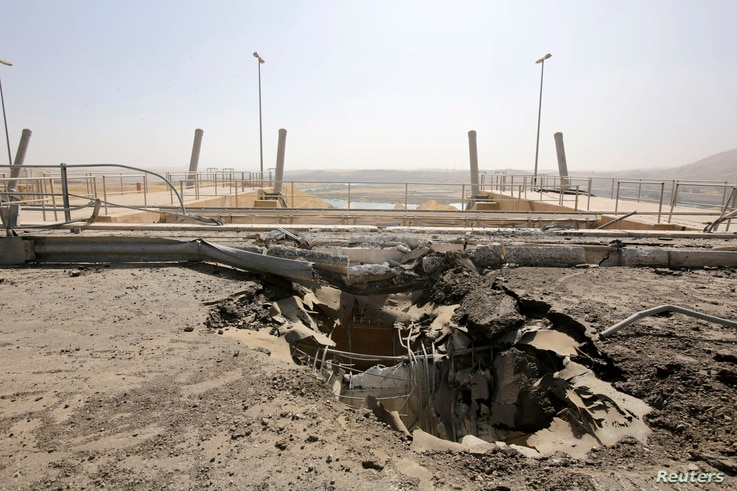 A crater at the entrance of Mosul Dam, Aug. 21, 2014.