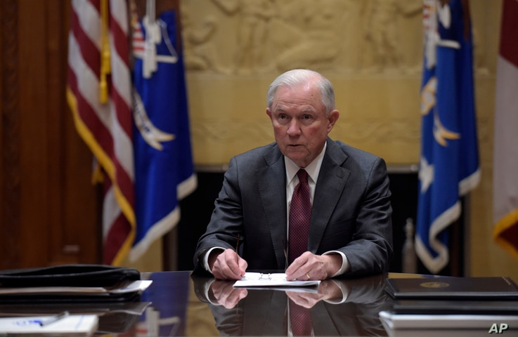 Attorney General Jeff Sessions holds a meeting with the heads of federal law enforcement components at the Department of Justice in Washington, Feb. 9, 2017.