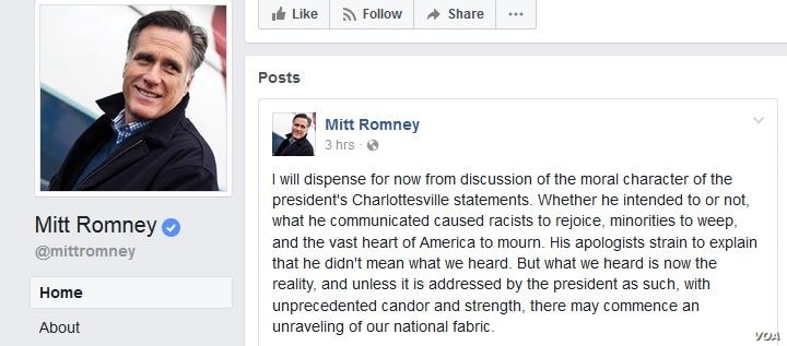 This screenshot was taken from Mitt Romney's Facebook page, posted Aug. 18, 2017.
