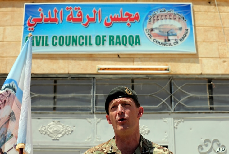 General Rupert Jones, Deputy Commanding General of the Coalition Joint Task Force, speaks during a press conference at the Civil Council of Raqqa, Syria, July 23, 2017.