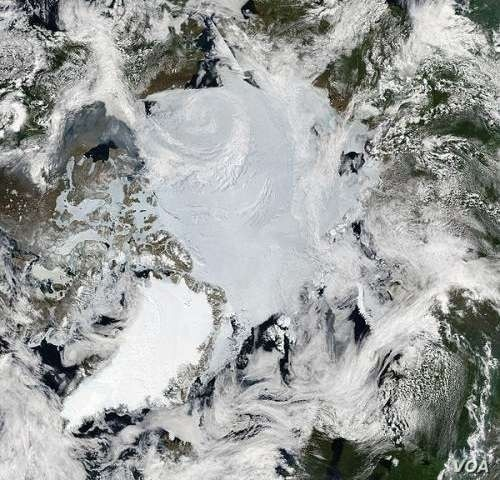 Mosaic of images of the Arctic, by MODIS.