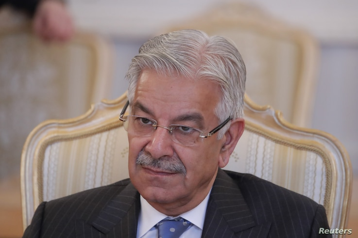 Pakistani Foreign Minister Khawaja Asif attends a meeting in Moscow, Russia Feb. 20, 2018.