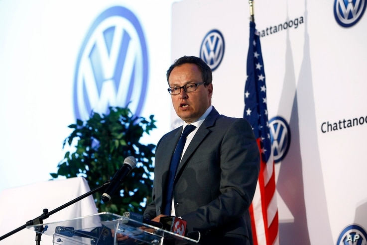 VW executive Hinrich Woebcken announces that the new 5-seat Atlas SUV will be built at Volkswagen Chattanooga on Monday, March 19, 2018 in Chattanooga, Tennessee.