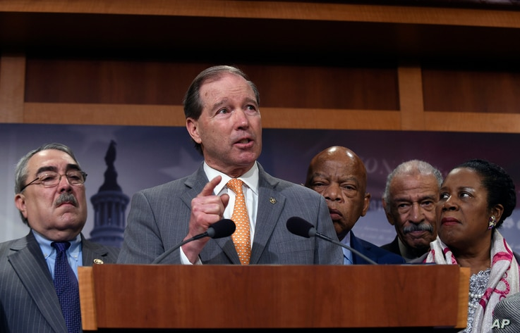 Sen. Tom Udall, D-N.M. talks about appointing another judge to the Supreme Court during a news conference on Capitol Hill in Washington, March 3, 2016.