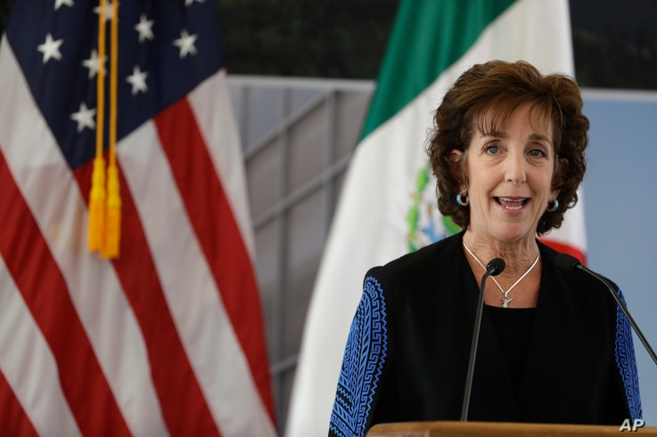 U.S. Ambassador to Mexico Roberta Jacobson speaks during the groundbreaking ceremony for the new U.S. embassy, slated to cost nearly $1 billion, in Mexico City, Feb. 13, 2018.