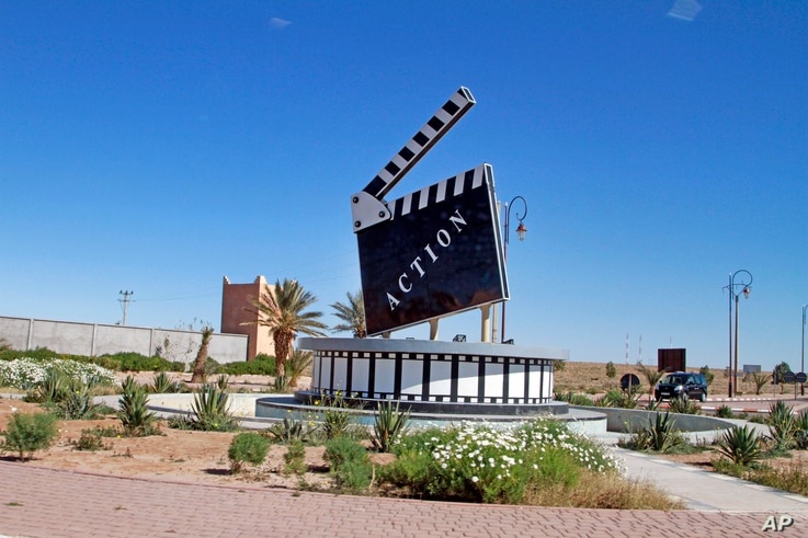 Movie-themed municipal art is seen on a traffic circle in the Moroccan city of Ouarzazate where dozens of foreign movies are filmed every year, Jan. 29, 2015.