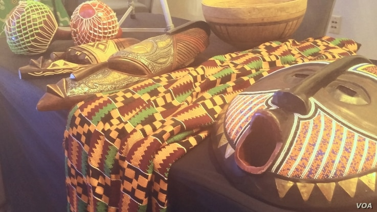 Some Ghanaian art and textiles were on display at the Africa Day gala in Washington, May 27, 2016.