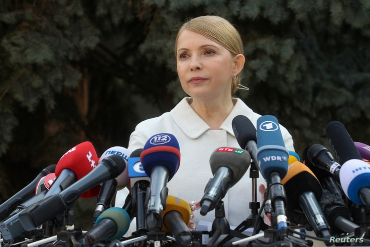 Yulia Tymoshenko is seen speaking at a news conference in Kyiv, March 27, 2014.