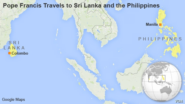 Pope Francis Travels to Sri Lanka and the Philippines