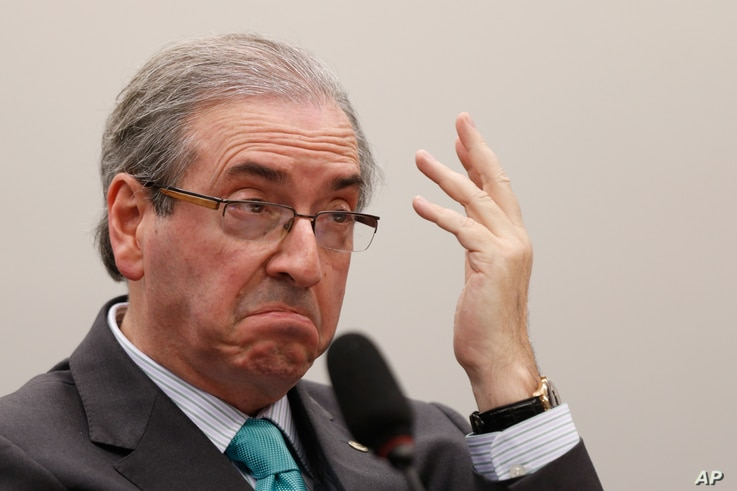 FILE - Eduardo Cunha, president of of Brazil's Chamber of Deputies, says he's waiting for legal analysis of the prospect of impeaching President Dilma Rousseff.