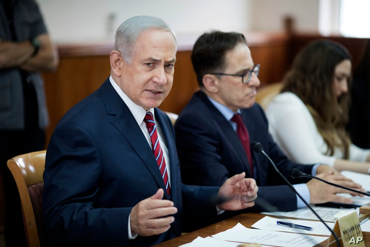 FILE - Israeli Prime Minister Benjamin Netanyahu attends the weekly cabinet meeting at his office in Jerusalem.