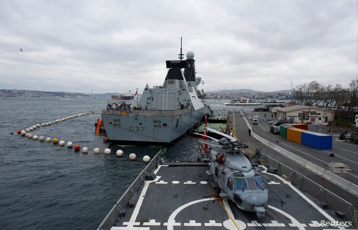 British Royal Navy destroyer HMS Duncan is seen during a port visit in Istanbul, Feb. 19, 2018.