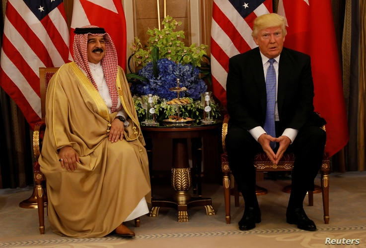 U.S. President Donald Trump meets with Bahrain's King Hamad bin Isa Al Khalifa in Riyadh, Saudi Arabia, May 21, 2017.