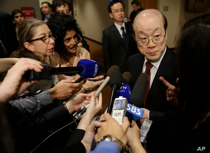Liu Jieyi, China's U.N. ambassador, takes questions during a break inSecurity Council consultations, Feb. 25, 2016. A U.N. resolution proposed against North Korea after its recent nuclear test and rocket launch will affect exchanges with its traditio...