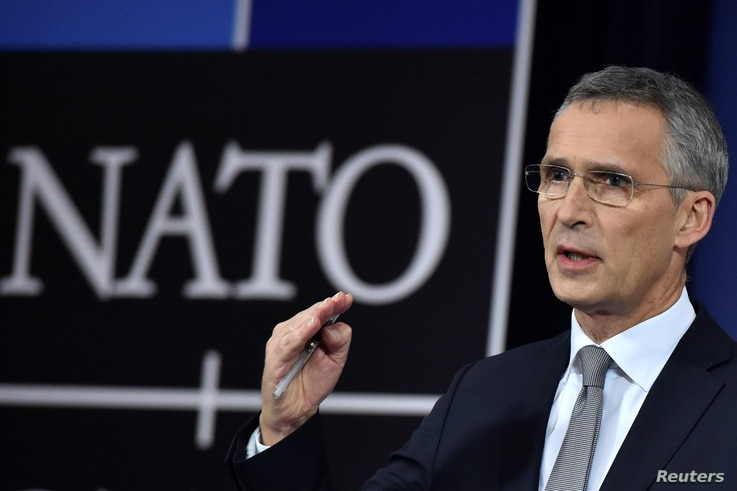 NATO Secretary-General Jens Stoltenberg talks to reporters at a NATO defense ministers meeting at the alliance headquarters in Brussels, Belgium, Nov. 8, 2017.