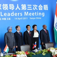 India's Prime Minister Manmohan Singh, Russia's President Dmitry Medvedev, China's President Hu Jintao, Brazil's President Dilma Rousseff and South Africa's President Jacob Zuma (L-R) pose during the BRICS (Brazil, Russia, India, China and South Afri...