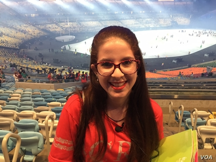 "Brazilian spectator Amanda Ramos Amore told VOA that the opening ceremony left her ""speechless."" (P. Brewer/VOA)"