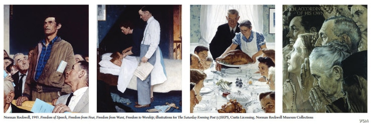 """American artist Norman Rockwell's """"Four Freedoms"""" series from the traveling exhibition, """"Enduring Ideals: Rockwell, Roosevelt and the Four Freedoms."""" (Courtesy: Normal Rockwell Museum)"""