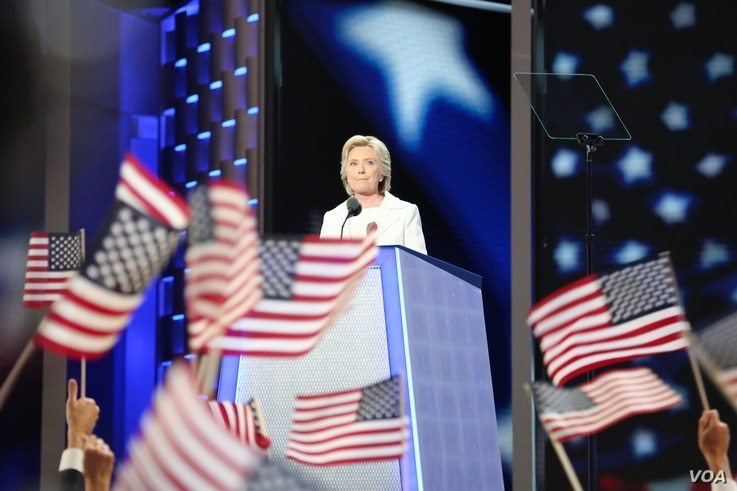 Hillary Clinton delivers her acceptance speech at the Democratic National Convention in Philadelphia, Pennsylvania, July 29, 2016. (Photo: A. Shaker / VOA)