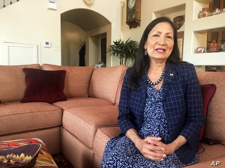 Deb Haaland, a Democratic candidate for Congress for central New Mexico's open seat and a tribal member of the Laguna Pueblo, speaks at her Albuquerque home, June 6, 2018.