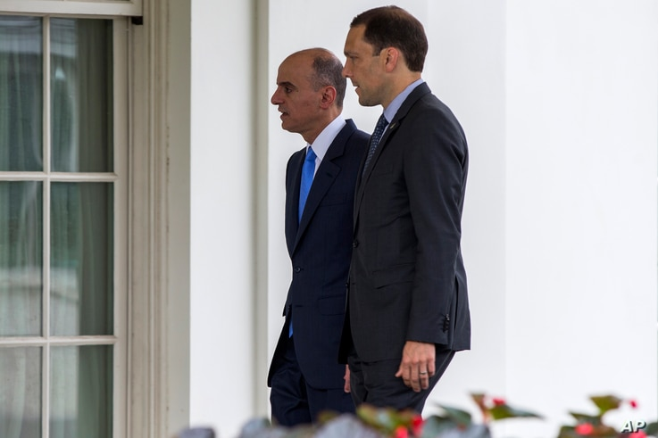 Saudi Foreign Minister Adel al-Jubeir, left, arrives at the White House in Washington for a meeting with President Barack Obama about the Iran nuclear deal, Friday, July 17, 2015. .