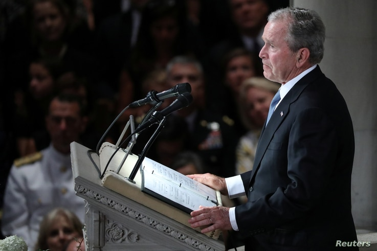 Former U.S. president George Bush speaks at the memorial service for Senator John McCain at the National Cathedral in Washington, Sept. 1, 2018.