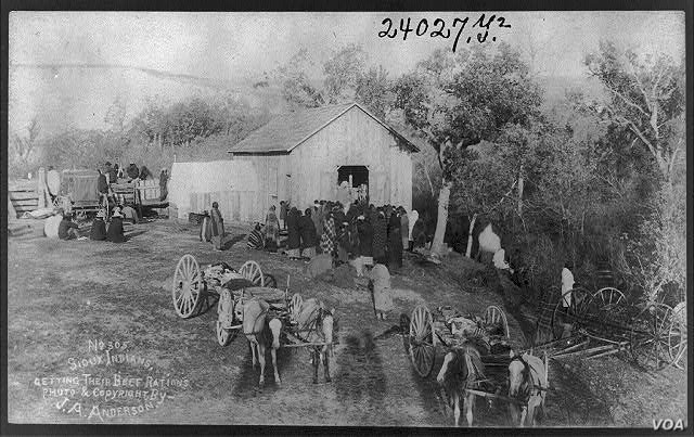 Sioux Indians waiting for monthly beef rations, Rosebud Reservation, South Dakota, c. 1893