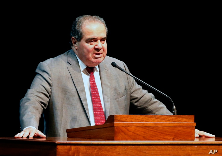 FILE - Supreme Court Justice Antonin Scalia speaks at the University of Minnesota in Minneapolis.