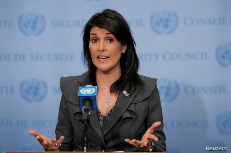 FILE - U.S. Ambassador to the United Nations Nikki Haley speaks at UN headquarters in New York, NY, U.S., Jan. 2, 2018.