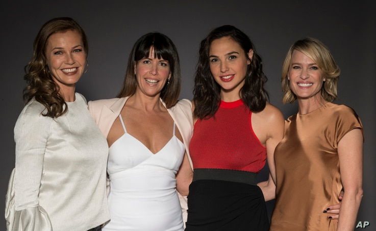 """In this May 20, 2017 photo, Connie Nielsen, from left, director Patty Jenkins, Gal Gadot, and Robin Wright pose for a portrait at the """"Wonder Woman"""" junket in Culver City, Calif."""