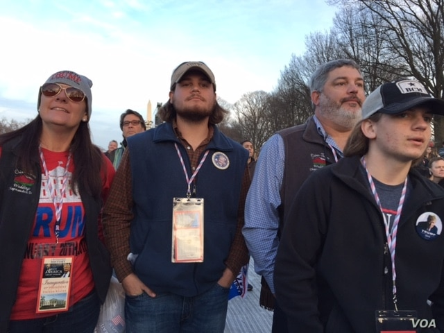 """Nick Owen and his family drove 11 hours from Nashville, Tennessee. Owen, age 19, says he voted """"very proudly"""" for Trump in his first ever chance to vote in an election.  (C. Presutti/VOA)"""