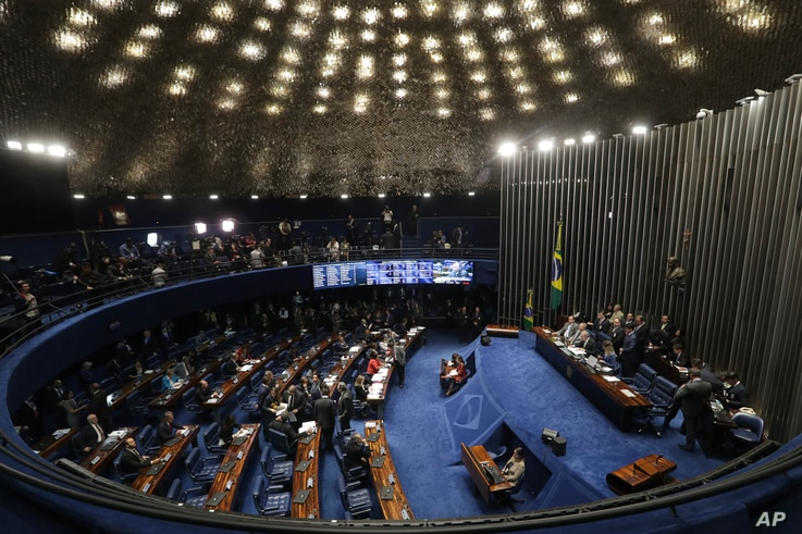 Brazil's Senate begins deliberating whether to permanently remove suspended President Dilma Rousseff from office, in Brasilia, Brazil, Aug. 25, 2016.