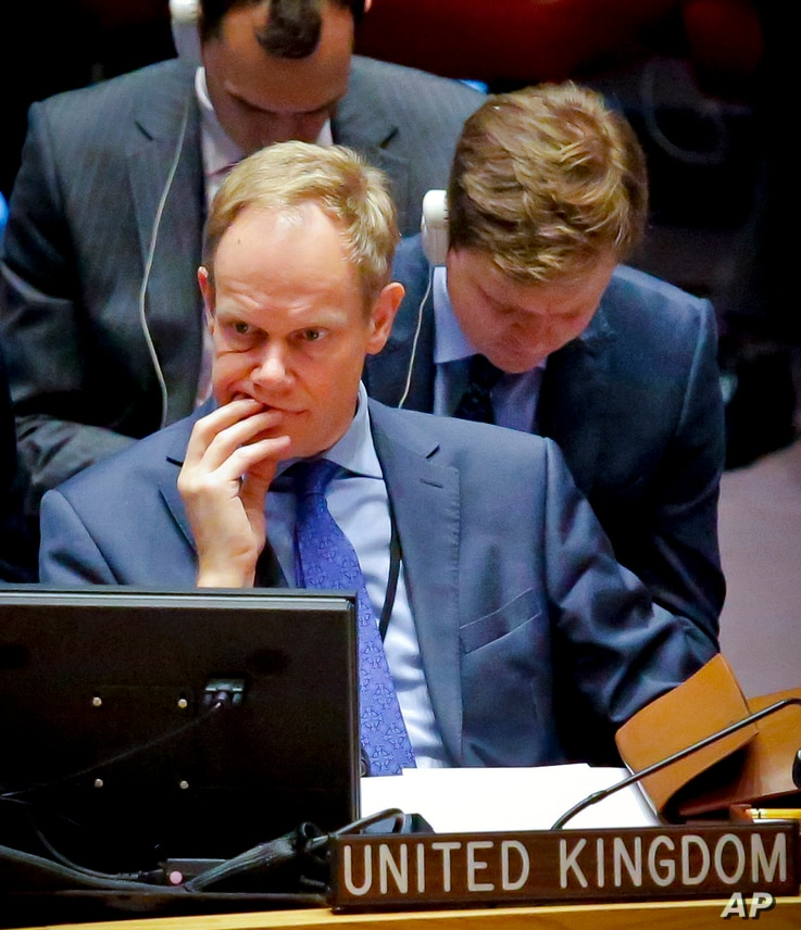 Great Britain U.N. Ambassador Matthew Rycroft takes part in a Security Council debate on the Middle East conflict, Jan. 17, 2017, at U.N. headquarters.