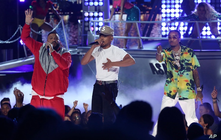 "DJ Khaled, from left, Chance The Rapper, and Quavo perform ""I'm the One"" at the BET Awards at the Microsoft Theater on June 25, 2017, in Los Angeles."