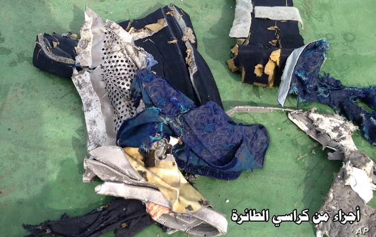 This picture posted Saturday, May 21, 2016, on the official Facebook page of the Egyptian Armed Forces spokesman shows part of a plane chair from EgyptAir flight 804.