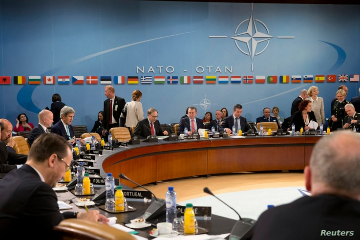 Alliance foreign ministers are seen during a NATO-Ukraine commission meeting at NATO headquarters in Brussels April 1, 2014.