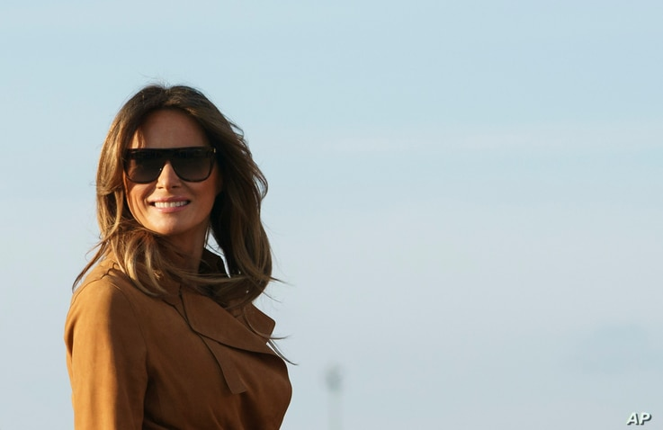 FILE - First lady Melania Trump boards a plane, Oct. 1, 2018, in Andrews Air Force Base, Md., en route to Africa.