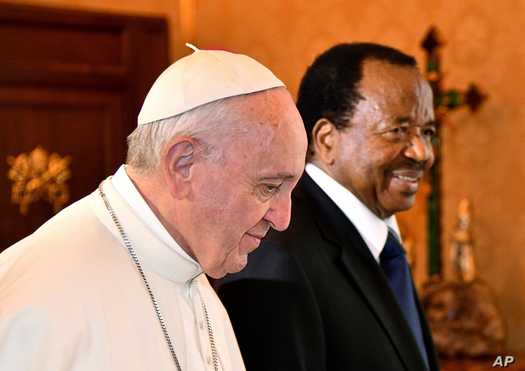 Pope Francis welcomes Cameroon's President Paul Biya for a private audience at the Vatican, March 23, 2017.