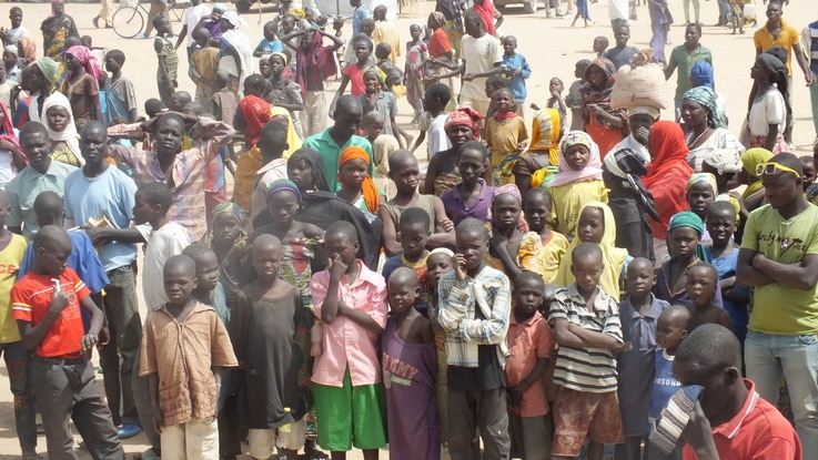 The number of Nigerian refugees fleeing to Cameroon to escape Boko Haram terrorism has doubled within the past month. Shown here is a refugee camp in Minawao on Cameroon's northern border with Nigeria, Feb. 23, 2015. (Moki Edwin Kindzeka/VOA)