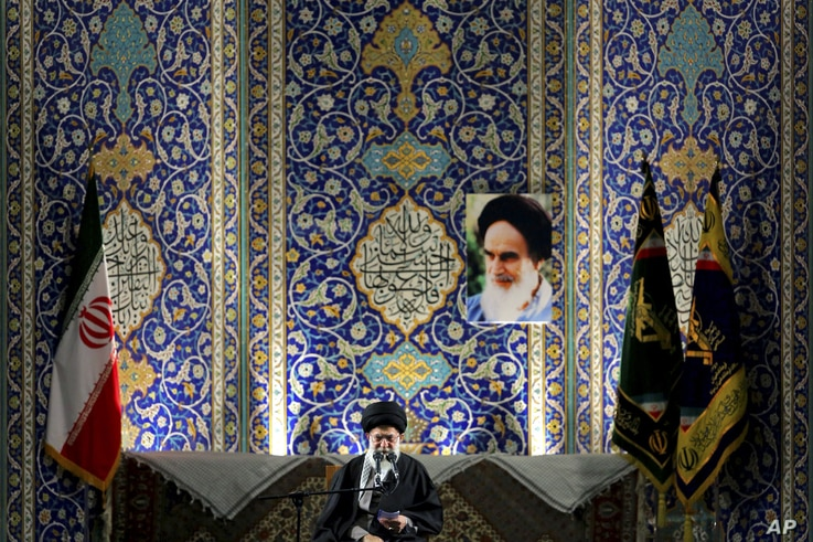 Iran's Supreme Leader Ayatollah Ali Khamenei delivers speech to paramilitary Basij force, saying pressure from economic sanctions will never force country into unwelcome concessions in nuclear negotiations, Imam Khomeini Grand Mosque, Tehran, Nov. 20...