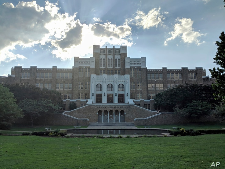 Central High School, the setting of a contentious desegregation effort in 1957 by Elizabeth Eckford and eight other black students known as the Little Rock Nine, is seen in Little Rock, Arkansas, Sept. 4, 2018.