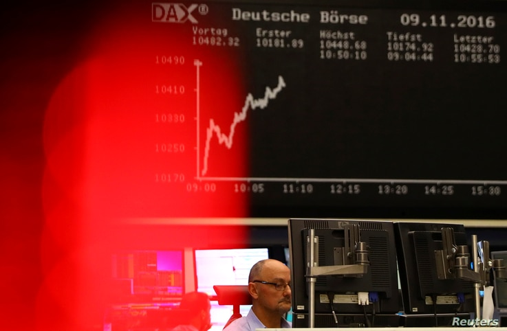 A trader at the Frankfurt stock exchange reacts in Frankfurt, Germany, Nov.  9, 2016.