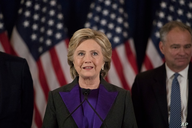 FILE - Democratic presidential candidate Hillary Clinton speaks in New York, Nov. 9, 2016.