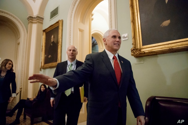 Vice President Mike Pence arrives on Capitol Hill in Washington for a Senate Republican strategy session, March 14, 2017. On March 15, Pence sought to rally support among House Republicans for the party's health care overhaul.