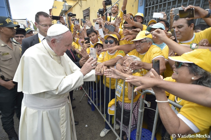 Pope Francis arrives to visit the College Carlos and Marcelo in Trujillo, Peru, Jan. 20, 2018.