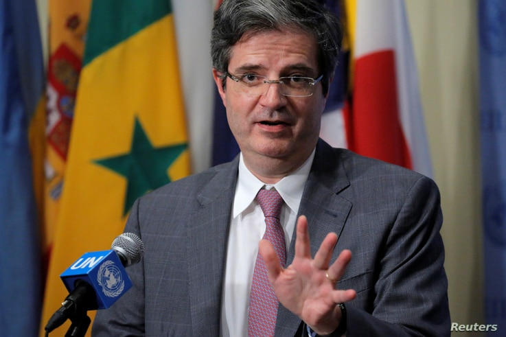 Francois Delattre, France's U.N. ambassador, addresses reporters after the U.N. Security Council voted to approve a resolution on Burundi in New York, July 29, 2016.