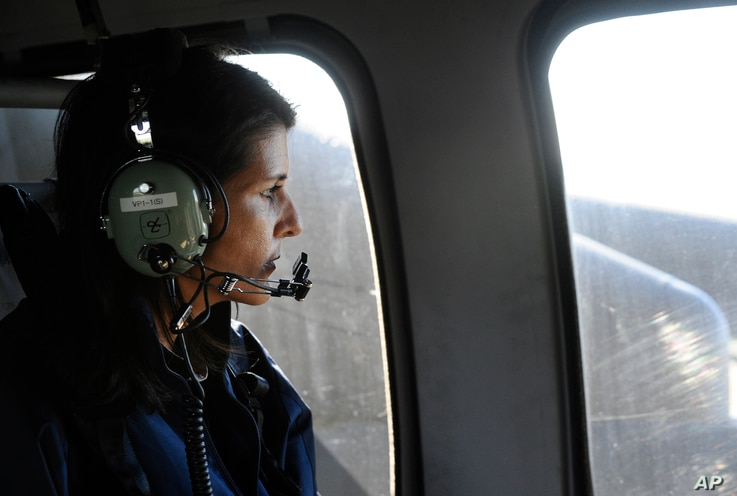 From a helicopter, Gov. Nikki Haley checks flooding caused by Hurricane Matthew near Mullins, South Carolina, Oct.10, 2016.